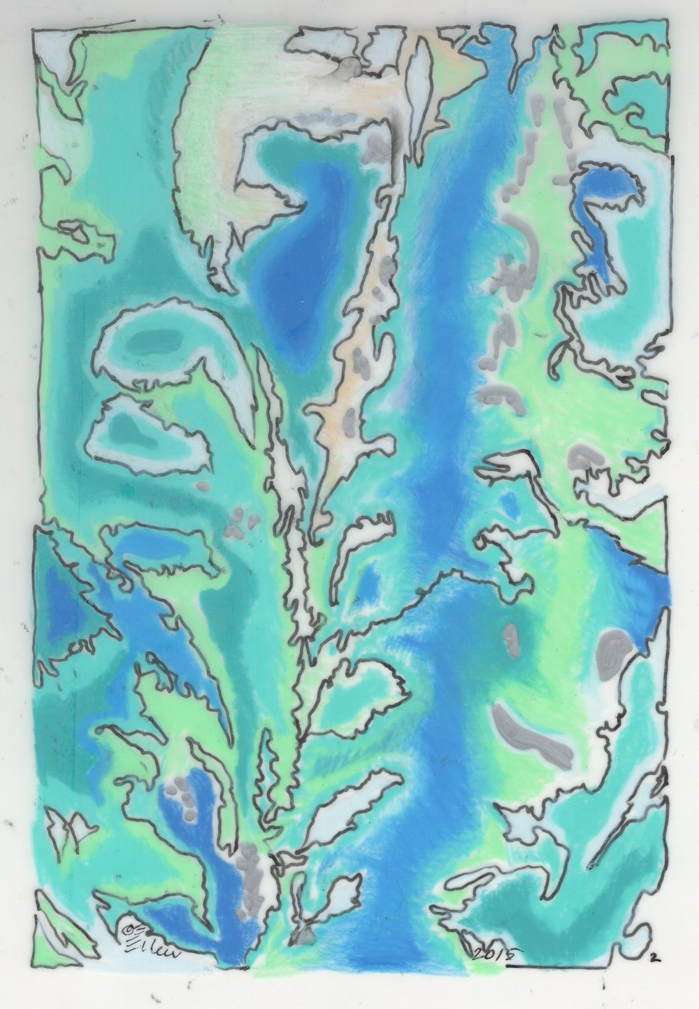 """Striation Series- Brazilian Tide"" 8""x10"" Gouache and ink on vellum."