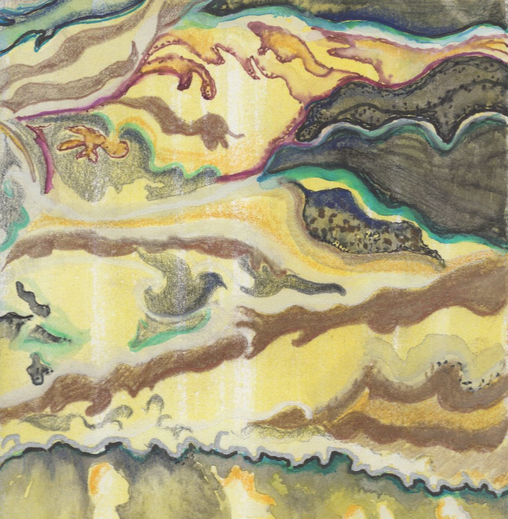 "Striation Series- Brazilian Tide, 9. 5""x5"" Gouache, Ink on BFK Rives."