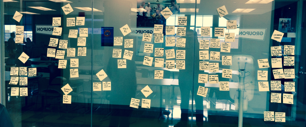 Teams used the affinity diagram method to draw insights from their field visit notes.