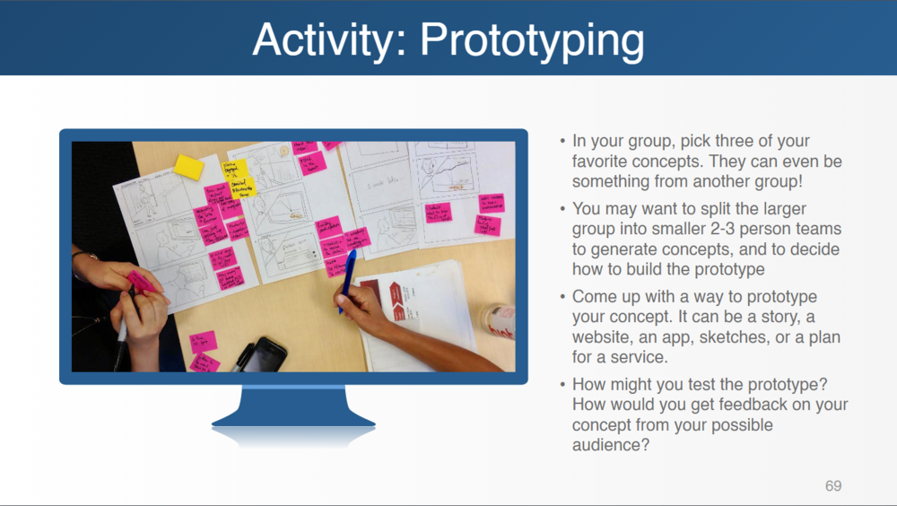 Prototyping activity from workshop slides
