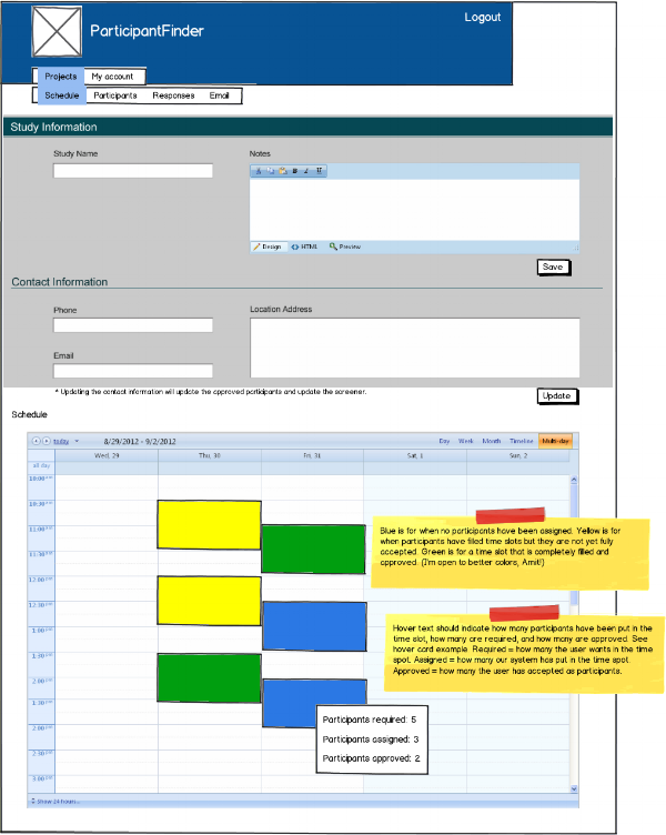 Balsamiq wireframe and spec