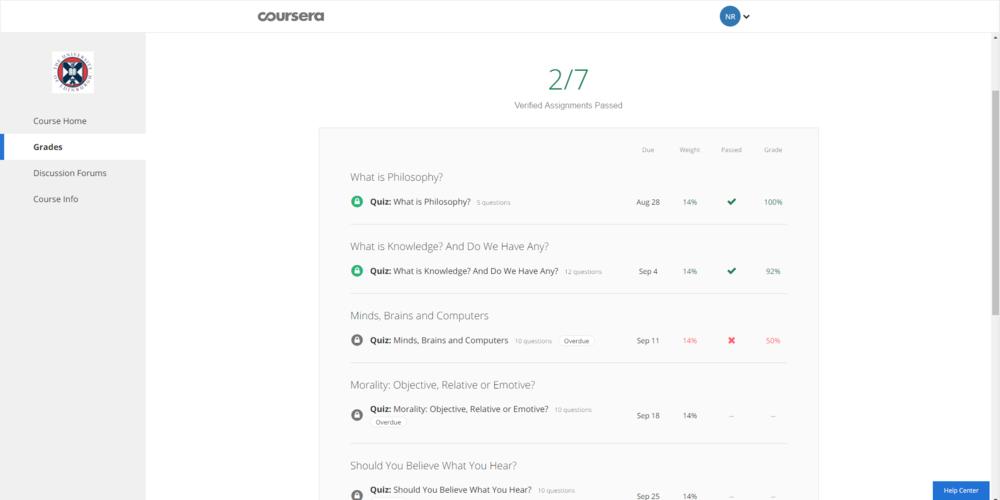 Live Coursera grades page