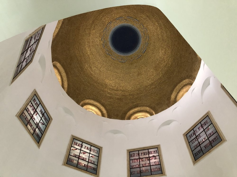 The ceiling of the Church of Beatitudes. Notice how there is a window for each side of the chapel.