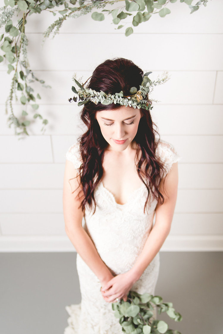 Bridal headpiece wreath - eucalyptus + brass + rhinestone bridal halo crown 4d8c1866f24