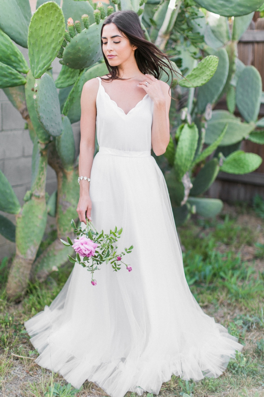 The best bridesmaid dresses for your budget get wedding savvy a beautiful ruffled tulle skirt paired with a simple silk scalloped tank top ombrellifo Gallery