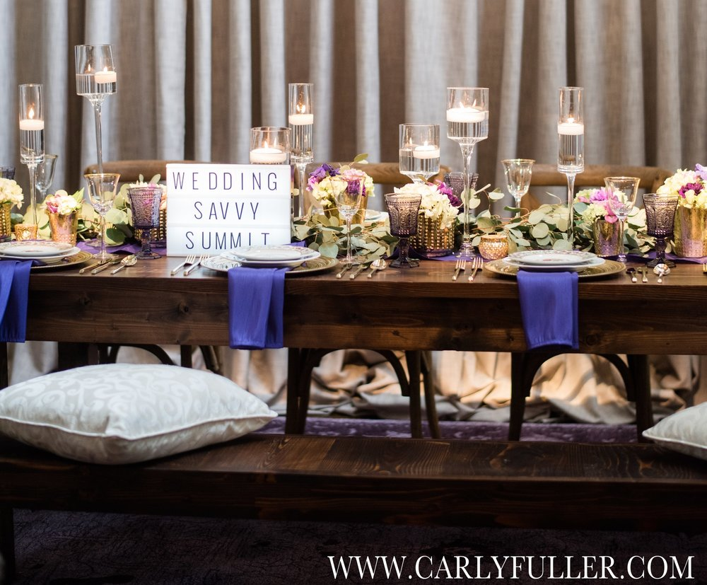 This table design by Event Pro highlighted the pantone of the year.  Photo by Carly Fuller Photography