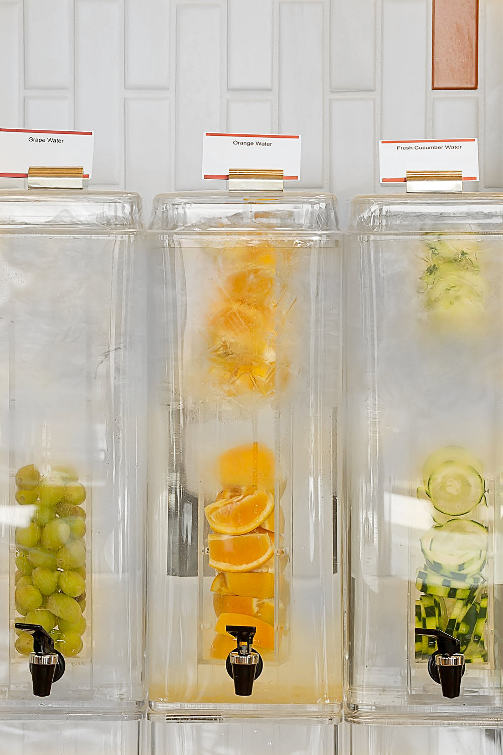 GRAPE, ORANGE AND CUCUMBER, INFUSED WATER. ELITE PRIVATE SCHOOL CAFETERIA