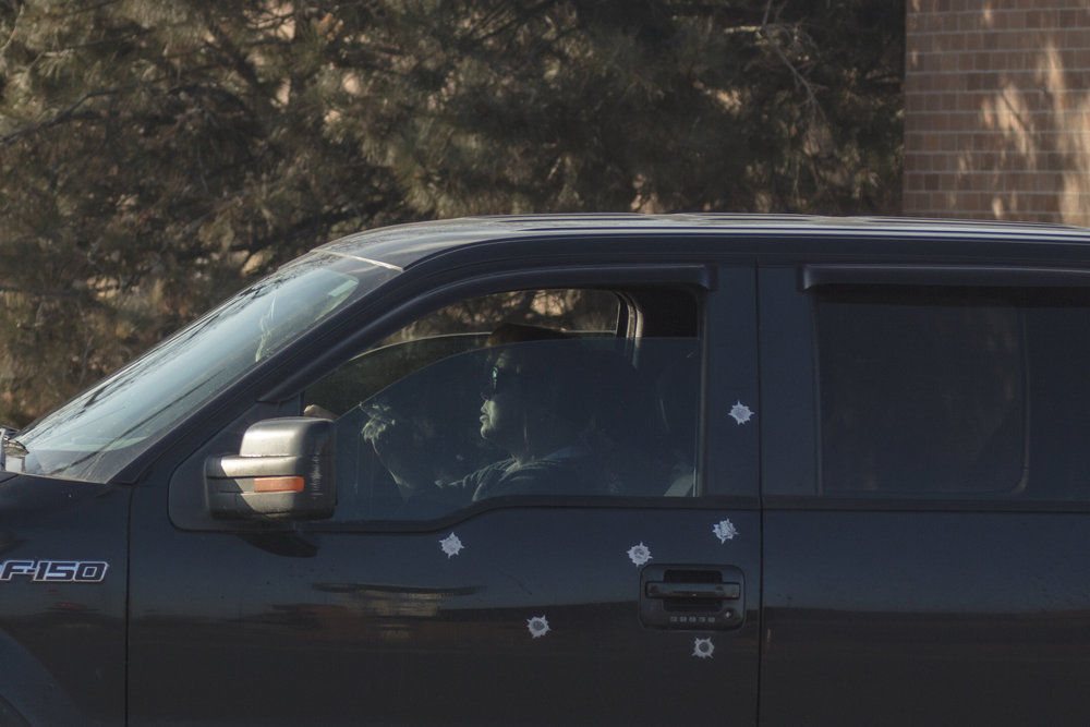 Faux bullet holes, Highlands Ranch, Colorado.