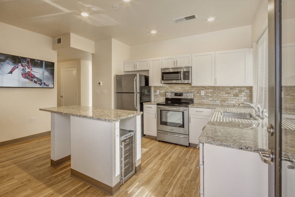 Luxury student housing with 18 bottle wine cooler. University of Colorado, Boulder