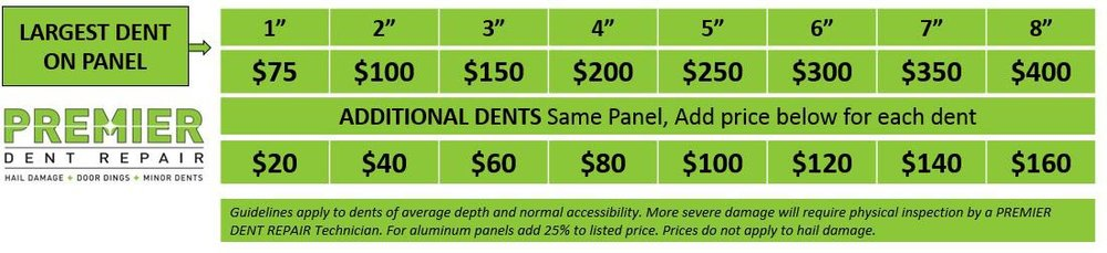 *Prices subject to change. Body lines, obstructed damage, sharp or stretched dents, and creases may increase the price listed.