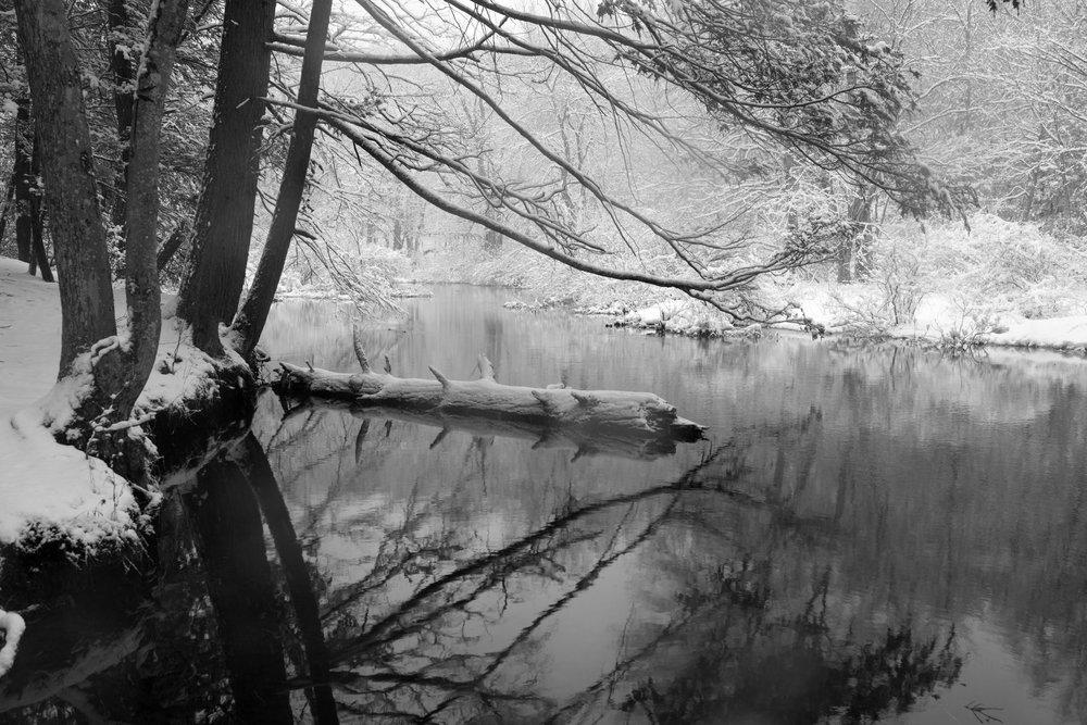 Reflections during a snowstorm, Sauguatuck Falls Natural Area, Redding