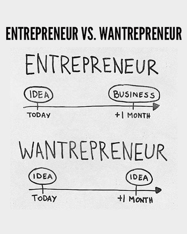 Are you going from idea to action like the entrepreneur, or jumping from idea to idea like the wantrepreneur? 🤔