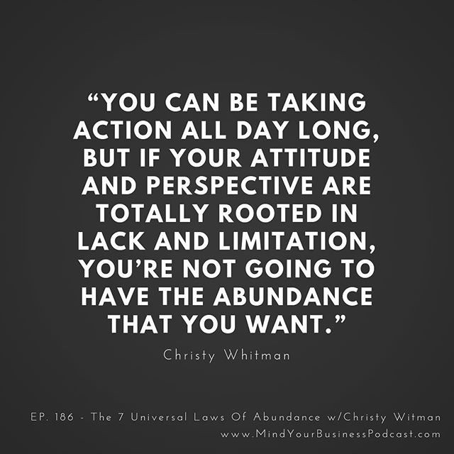 Today I'm speaking with New York Times best-selling author Christy Whitman on the 7 Universal Laws of Abundance. You're not only going to hear what they are, but you're going to hear how you can apply them in your own life! #MindYourBusinessPodcast 🎧👇🏻 Listen to the full episode in the link in bio 👉🏻@jameswedmore or go to 👉🏻http://www.mindyourbusinesspodcast.com/podcast/186