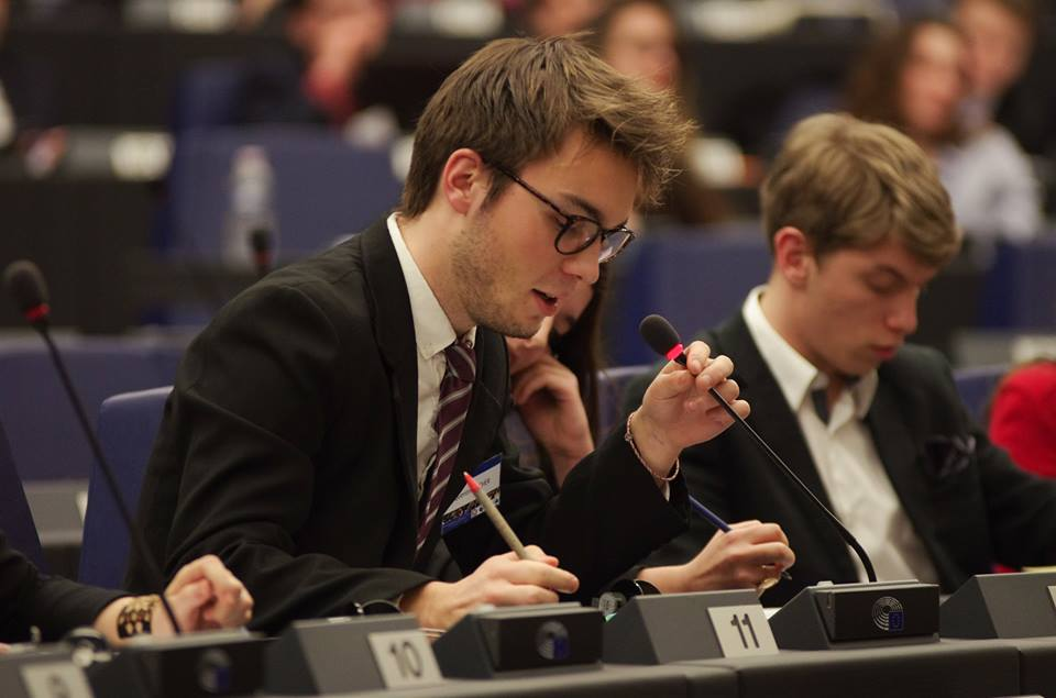 Quentin during a simulation of the European Parliament
