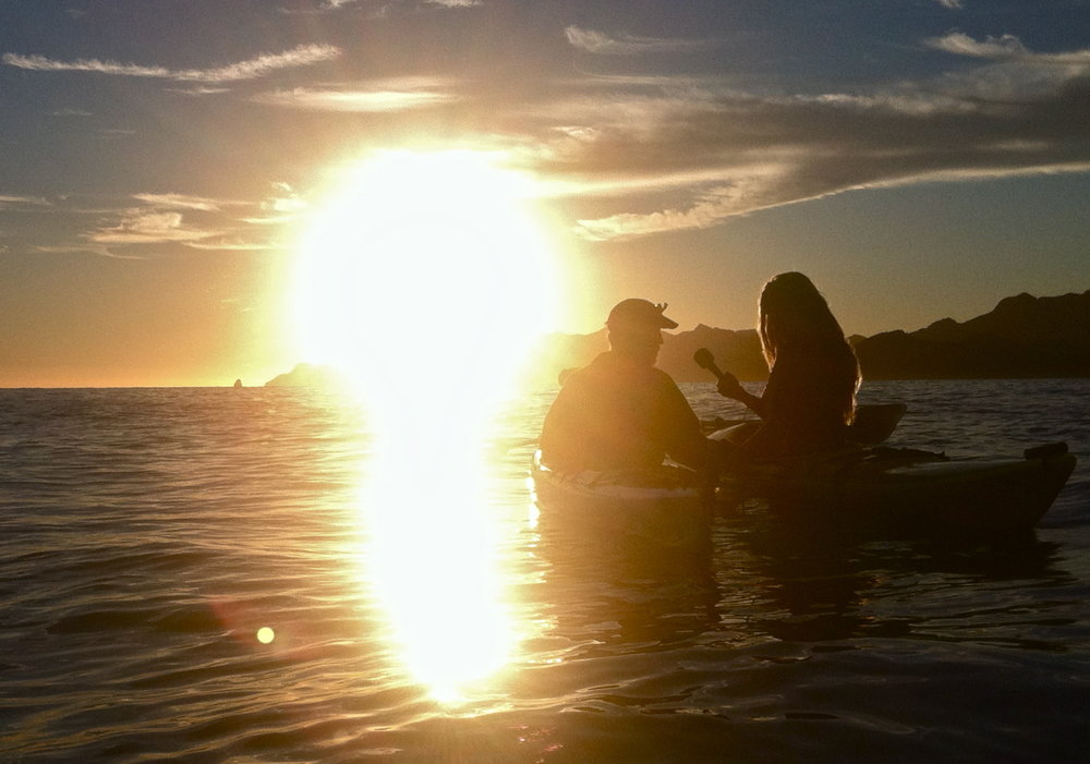 Mandela interviews her mentor, Gary Steele, after paddling out into the Sea of Cortez before sunrise.