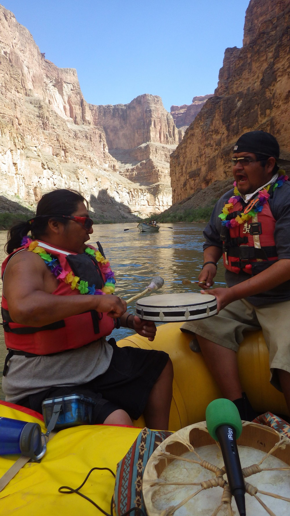 Mandela interview with two members of the Hualapai Nation, Clayborn & Brave. Recorded on The Colorado River a few miles upstream of Lava Falls, these two talented musicians will play drums & sing traditional Bird Songs while they tell the story of how The Grand Canyon came to be according to the Native Americans in & around The Grand Canyon.