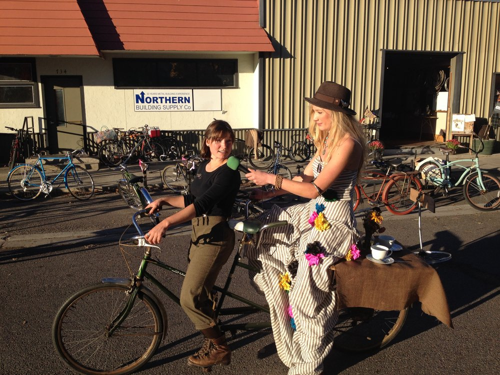 "Recording during Missoula's ""Tweed Ride"". A series of interviews recorded with cyclists while cycling around Missoula."
