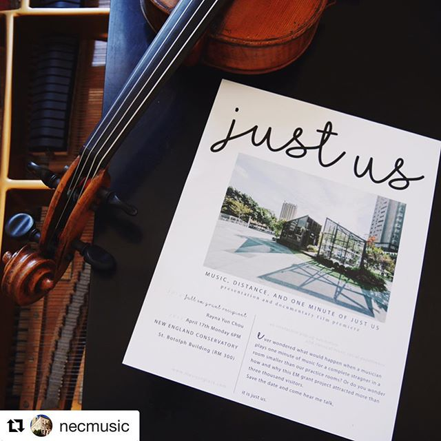 #Repost @necmusic ・・・ | Rayna Takeover | before we head into more photos and stories, I'd like to invite you to my presentation later today at 6pm, NEC St. Botolph room 300! I created this exhibition because I believe life is about all those truly special moments, those moments that we can still recall no matter how long it's been, the bigger than life moments that support us when when we feel like giving up. And that's what we as musicians and artists do. No matter what instruments we play, we create and we live for those moments. So I wanted to create a space, where musicians and people can meet in the middle, a space that is out of everyone's comfort zone. Where I can see your face and you can look into my eyes, where music can penetrate all the barriers we put up. Stay tuned🎻🎻