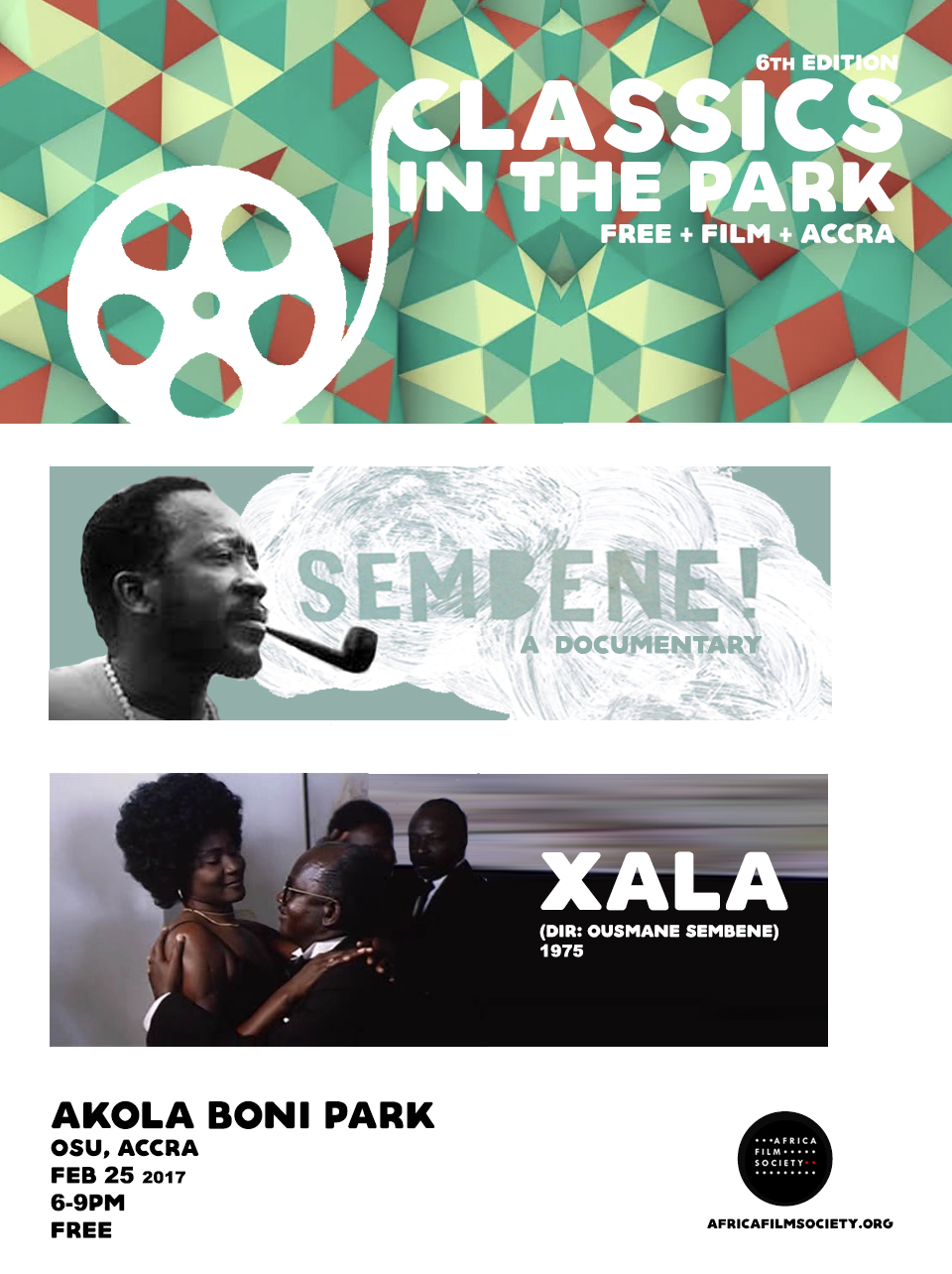 6th Classics in the Park Pays Tribute to Filmmaker Ousmane Sembène    Africa Film Society's free outdoor film showcase 'Classics in the Park' will pay tribute to legendary Senegalese filmmaker, Ousmane Sembène for its 6th Edition.  Slated for February 25th, 6pm at Akola Boni Park in Osu, Nyaniba Estate, this edition aimsto familiarize Ghanaian film audience with the works of the man considered to befather of African cinema through his 1975 film Xala and 2015 biographical documentary film Sembène!.   Largely self-taught, Sembène was a prolific writer and director.  His films and literature provide candid portrayal of Colonialism and the fallings of religion and the new African bourgeoisie.    His first feature film, Black Girl (1966) is a critical account of the isolation of a young Senegalese domestic servant working with an affluent French family in Antibes.    In Xala (1975), Semebène takes on the new African bourgeoisie in a biting satire about a westernized black bourgeoisie rendered impotent on the day of his wedding to his third wife. It was screened at the Moscow International Film Festival in 1975 and was ranked among 'The 100 Best Films of World Cinema in 2010 by the Empire Magazine.   Sembene was a member and co-founder of the Senegalese Association of filmmakers and the Pan African Federation of Filmmakers (FEPACI). He was a jury member at Cannes in 1967, Berlin (1977) and Venice (1983).His film, Moolaade (2002) won the Certain Regard prize in Cannes in 2004, subsequently becoming the first African director to hold a leçon de cinèma there.  He died in June, 2007 at the age of 84.  CLASSICS IN THE PARK / FEB 25 / 6pm / AKOLA BONI PARK, OSU ACCRA