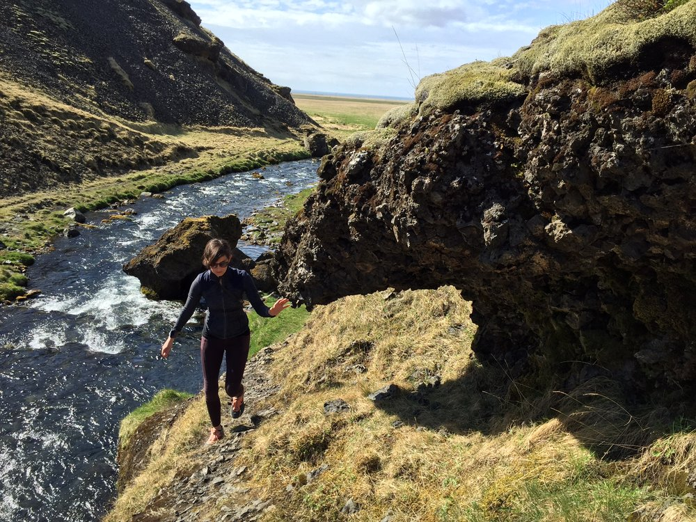 Lindsay hiking to a waterfall in Iceland, 2016
