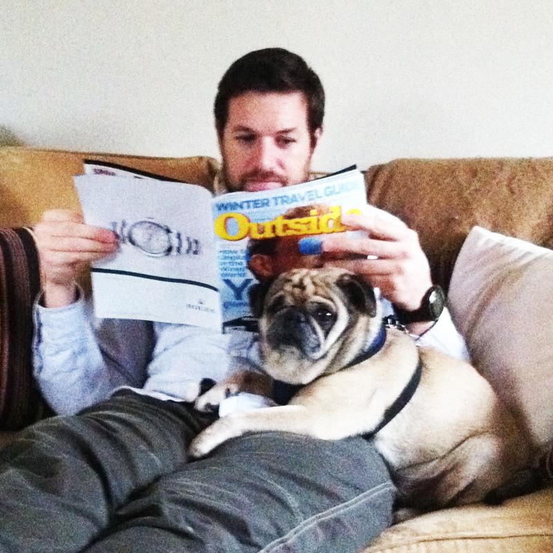 Matt relaxing with Beasley, our friend's pug