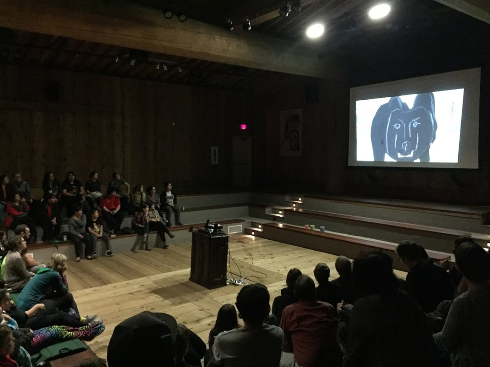 The animation Bears and the Berries (created at the Sk'aadgaa Naay Elementary School) played first - both the english version and Haida version!