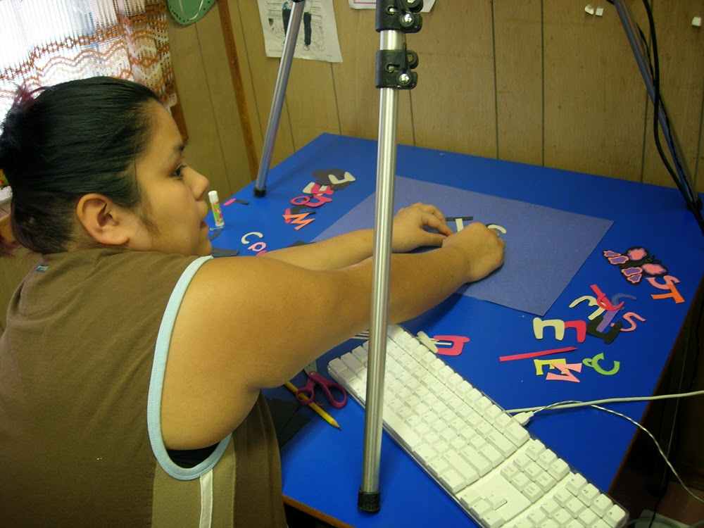 Ernestdeen works on her animation for her film Nuxalk Alphabet