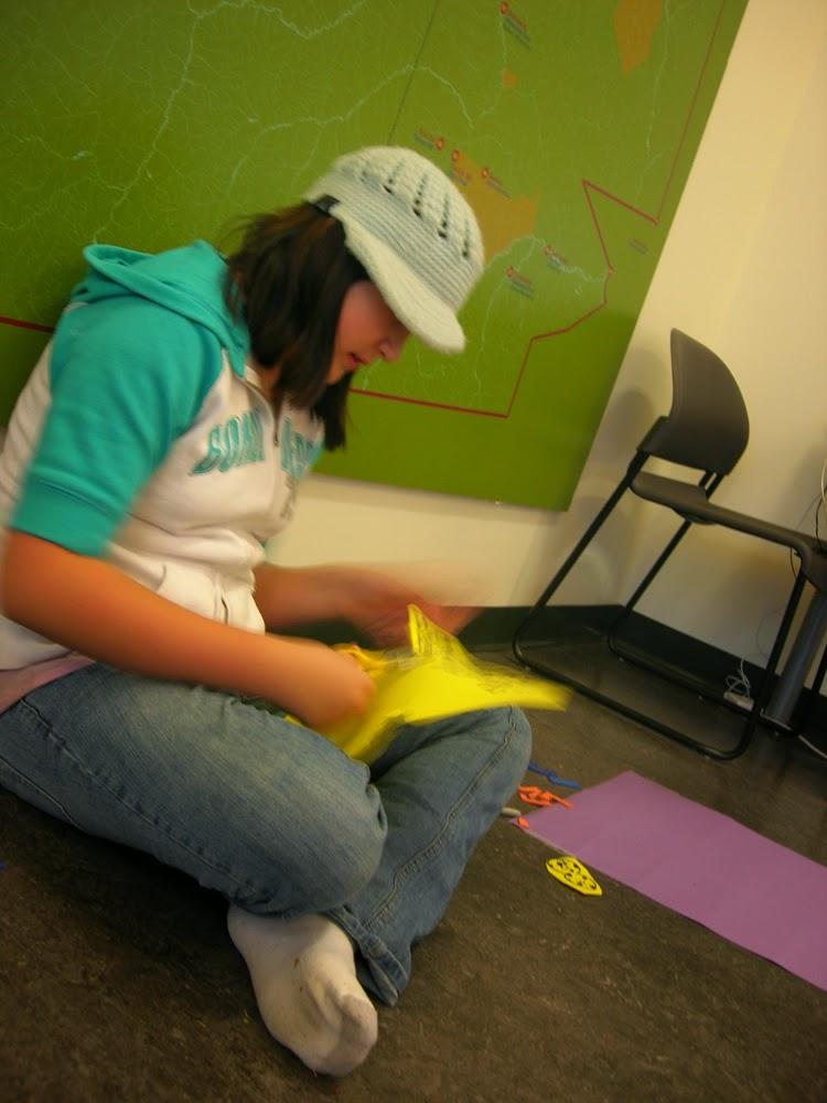 Mackenzie works on her animation Numbers in Blackfoot