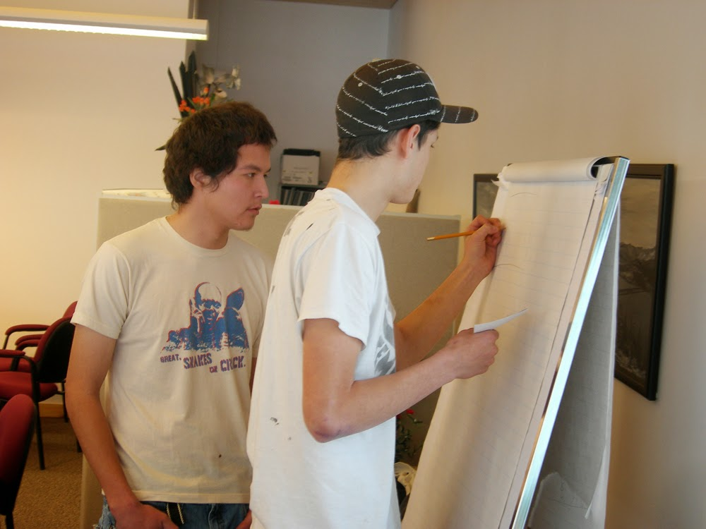 Clayton and Cole work on storyboard