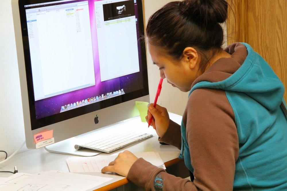 Mariah works on her script