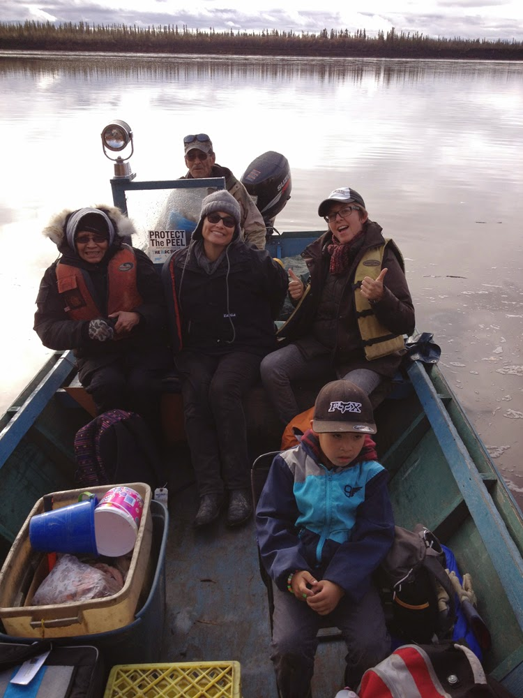 The crew heading to camp up river: Georgie (our captain), Mary Jane, Lisa M, Lisa g, Desmond & Paolo takes the picture!