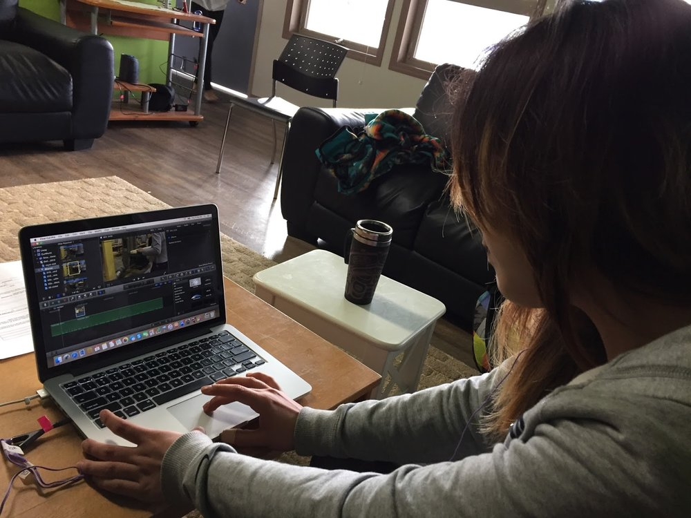 Sharon editing her experimental and expressive film
