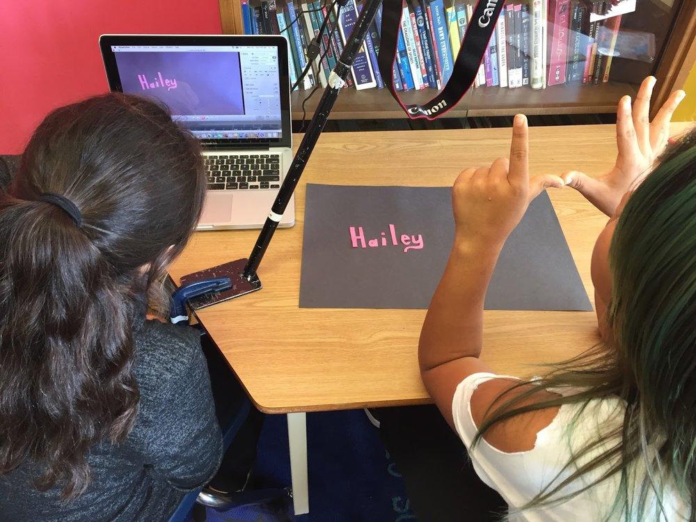 Haley and Lindsey animate their names