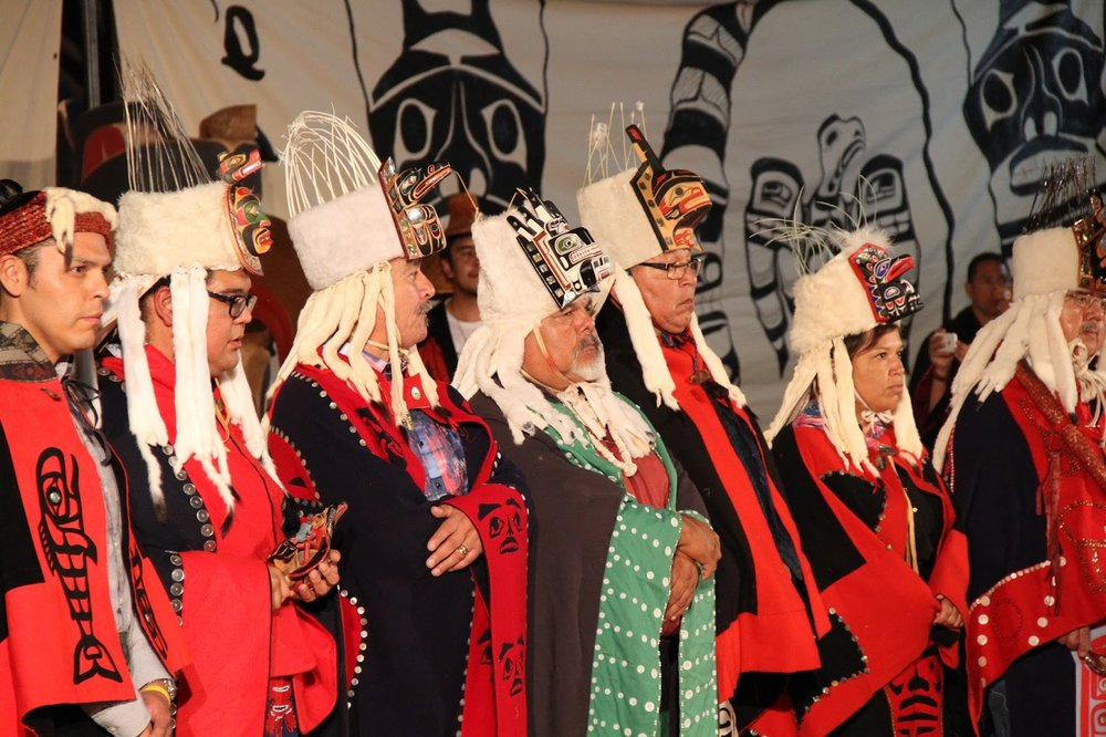 Heiltsuk Hereditary Chiefs  in glorious regalia