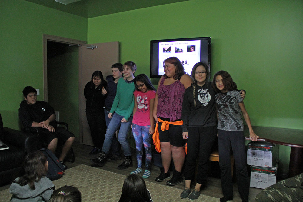 The filmmakers were honoured at the front of the room! Left to right: Jai, Sawyer, Angelica, Gwen, Natalia, Alexa and Elle