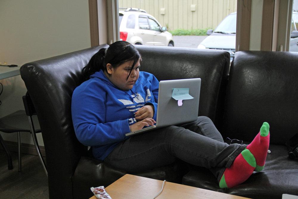 Jai edits while wearing really great socks!