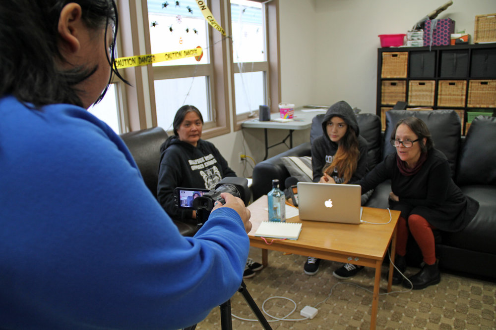 left to right: Jai (director), Sarah (actor), Bella (actor) and Tracy (mentor)