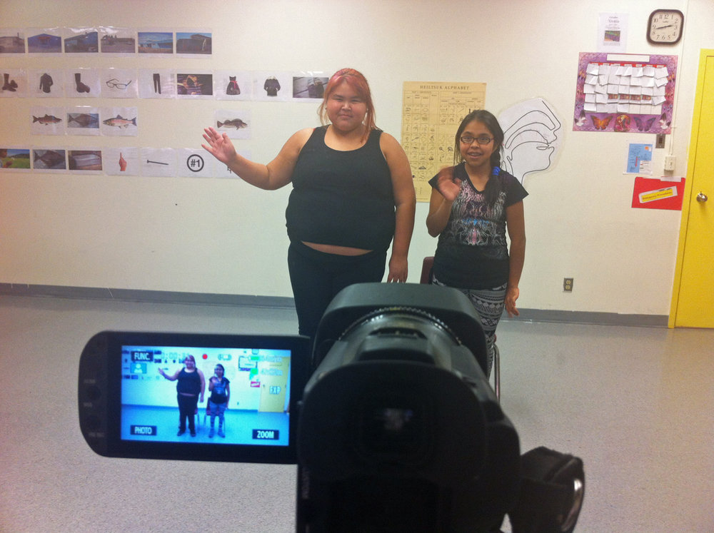 Natalia and Gwen shoot a scene in the Heiltsuk classroom
