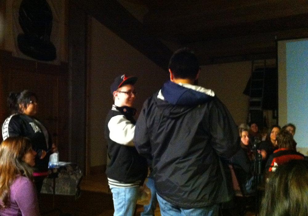 Kendra, Dorian and Elijah talking about film