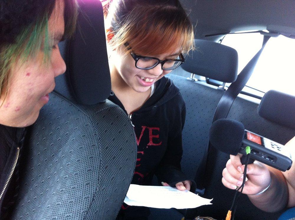 Danielle records her Haida