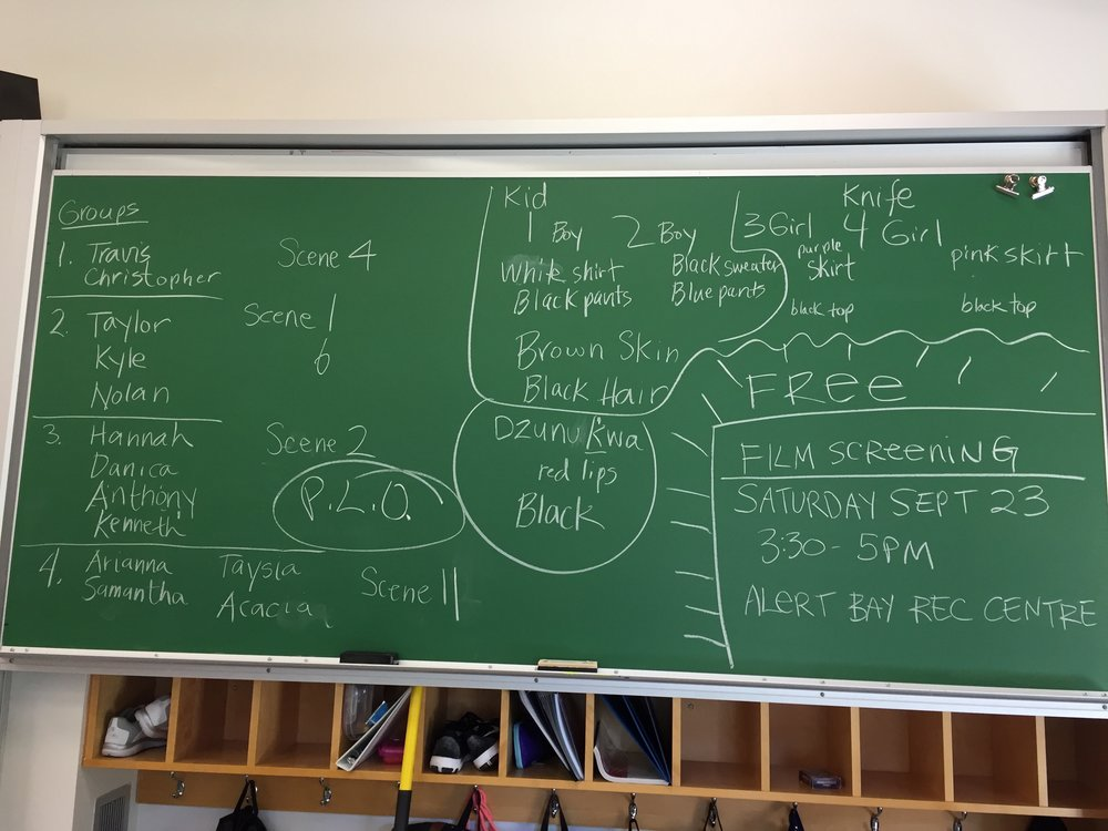 On this board was the students' groups as well as character continuity notes