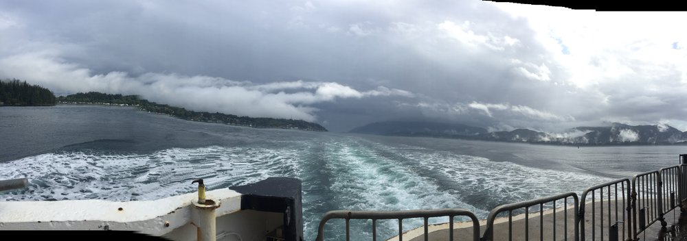 The view of Alert Bay as we head back to Vancouver Island...a little kooky distortion using the Panorama mode on the iPhone....