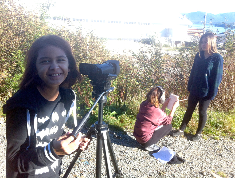 Elle on camera, Astrid on sound, Alexa as interviewee...