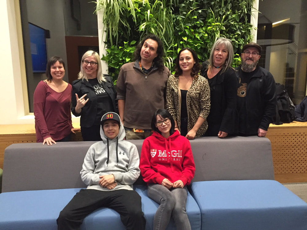 The workshop team - STANDING: Courtney, Lisa g, Jesse, Brooke, Vicky, Glenn SEATED: Kaherahtens, Pasha (missing: Lorrie)