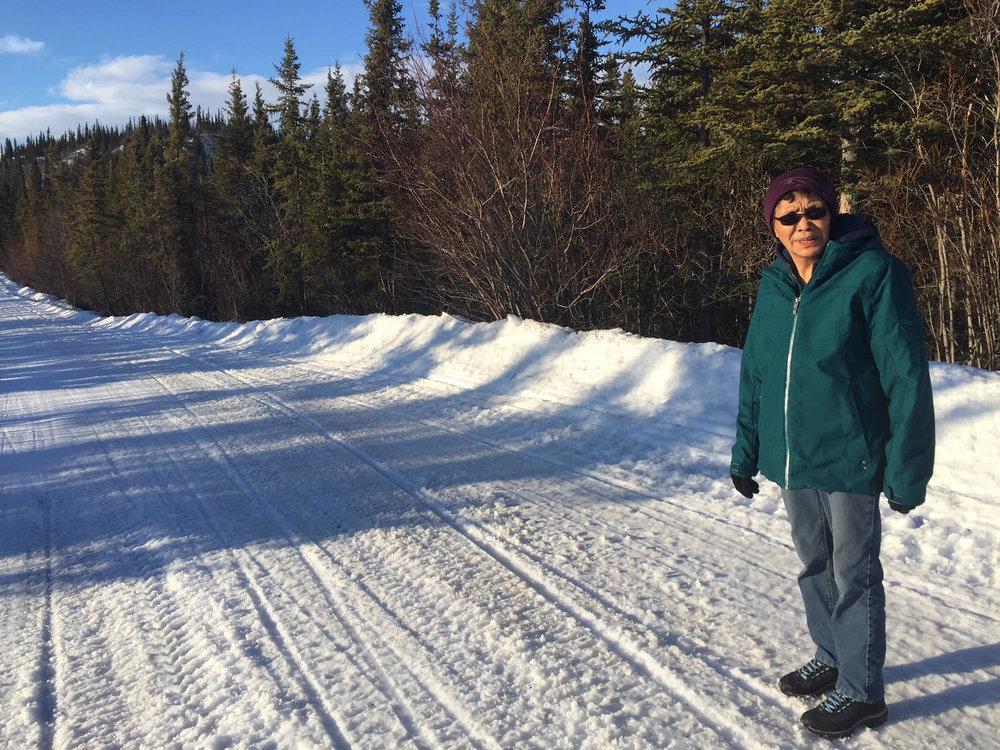 A walk with Mary Jane on the slushy roads!