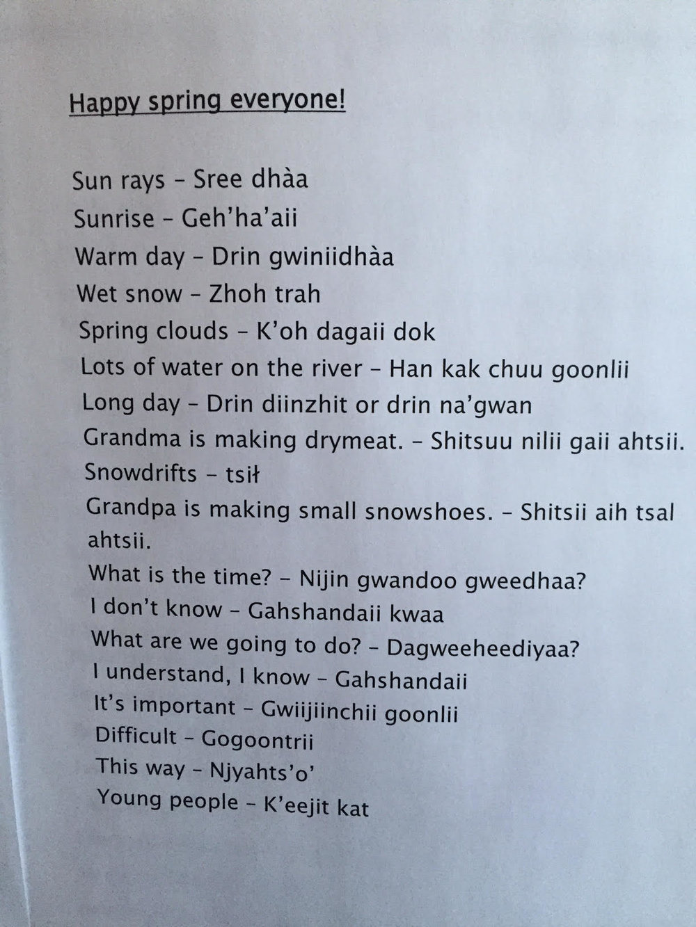 More Gwich'in language!