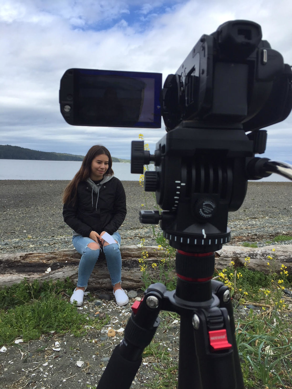 Jade answers prepared questions about her connection to art and her two familial nations: Nuxalk & Kwakiutl that provide inspiration
