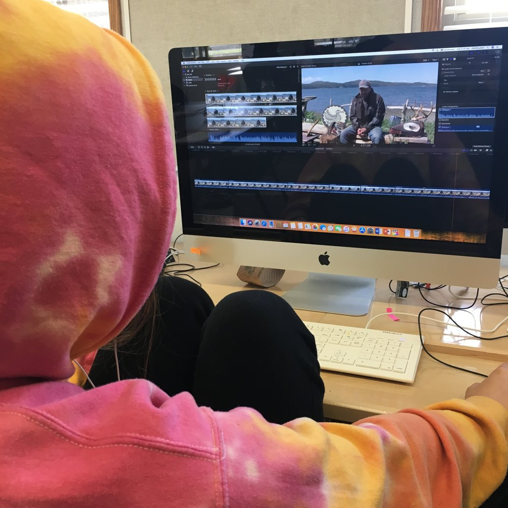 Jade works on her film with the incredible footage she captured yesterday