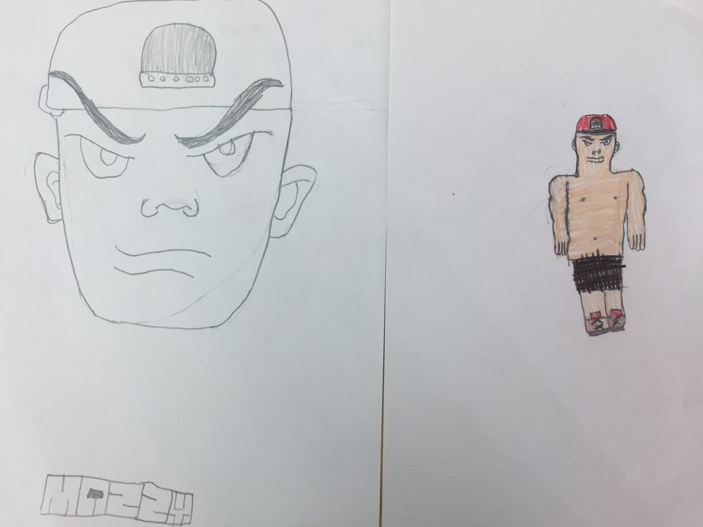 Mazzy's drawing of a wrestler…super cool