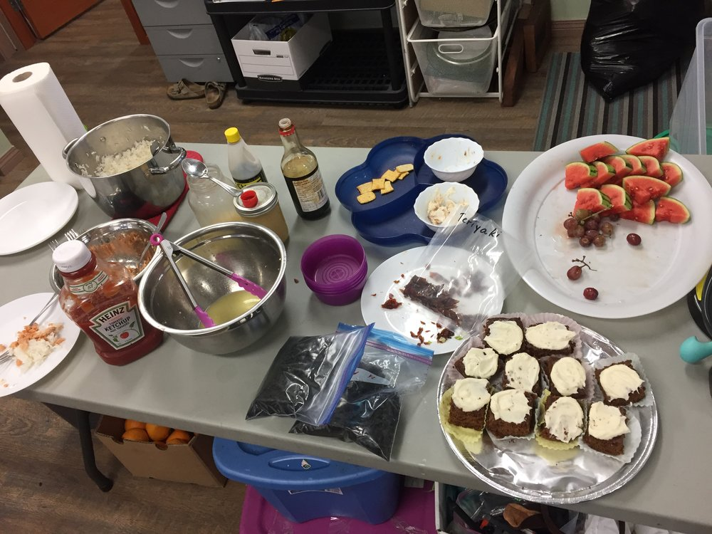 Snacks are always at the ready to keep the creative juices flowing! Thanks to Youth Centre staff: Shauna, Howie and Lori!
